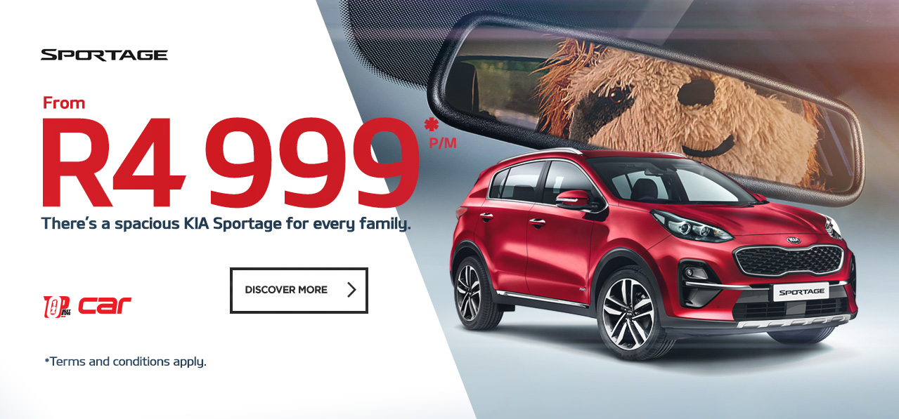There's a spacious Kia Sportage for every family from R4,999 pm*