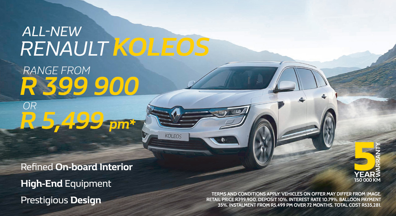 The All-New Koleos Range from R5,499 pm* or From R399,900