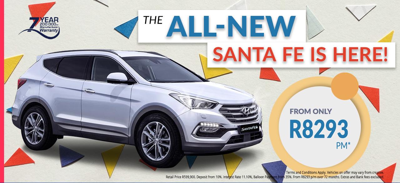 The all new Hyundai Santa Fe from R8,293 pm*