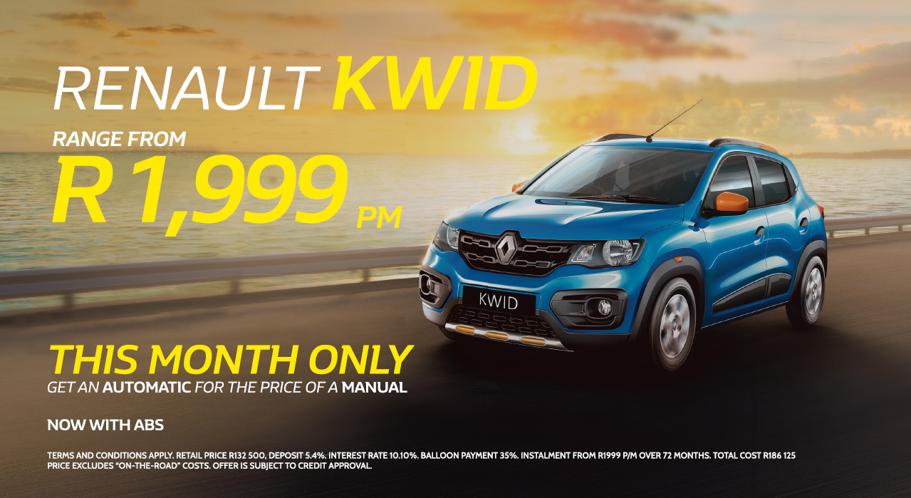 Renault Kwid from R1,999 pm *