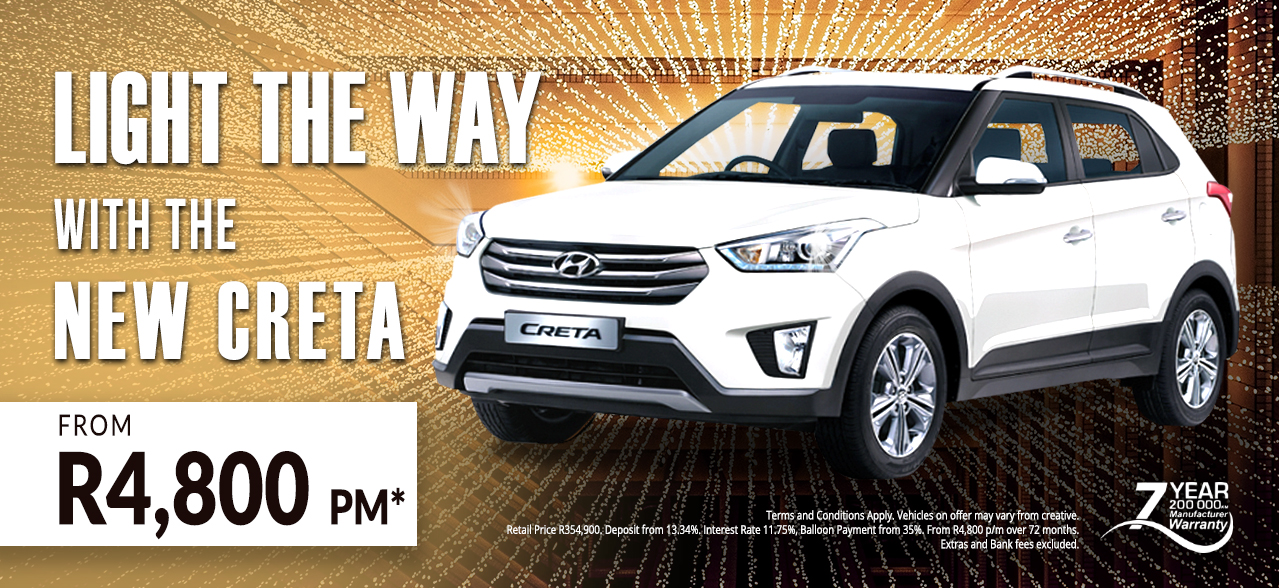 Light the Way with the Hyundai Creta from R4,800 pm*