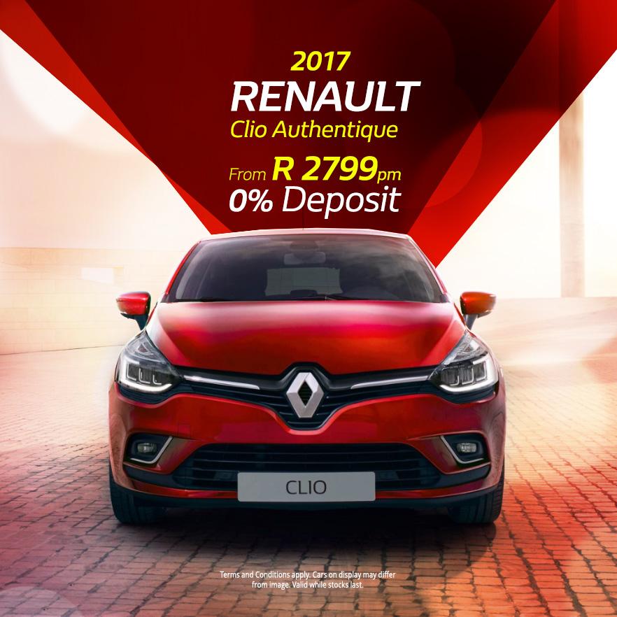 2017 Renault Clio Authentique From R2799 pm   0% Deposit