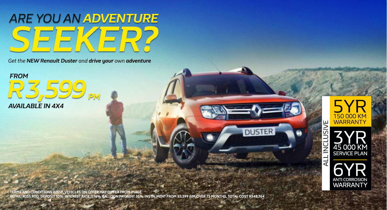 Get the new Renault Duster and drive your own adventure from R3,599 pm*