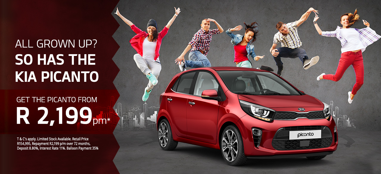 All grown up? So has the Kia Picanto! Get the Picanto from R2,199pm*