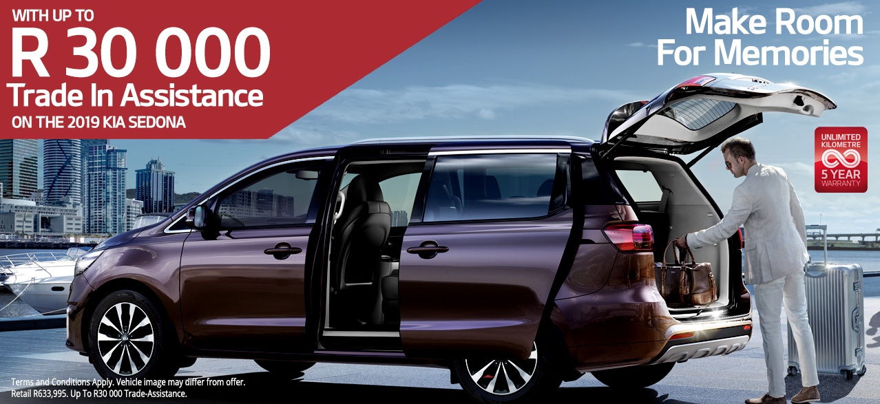 Make Room for Memories with up to R30,000 Trade-In Assistance on the 2019 KIA Sedona