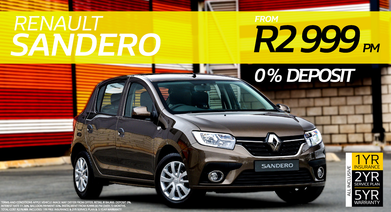 RENAULT SANDERO FROM R2,999 PM*  0% DEPOSIT