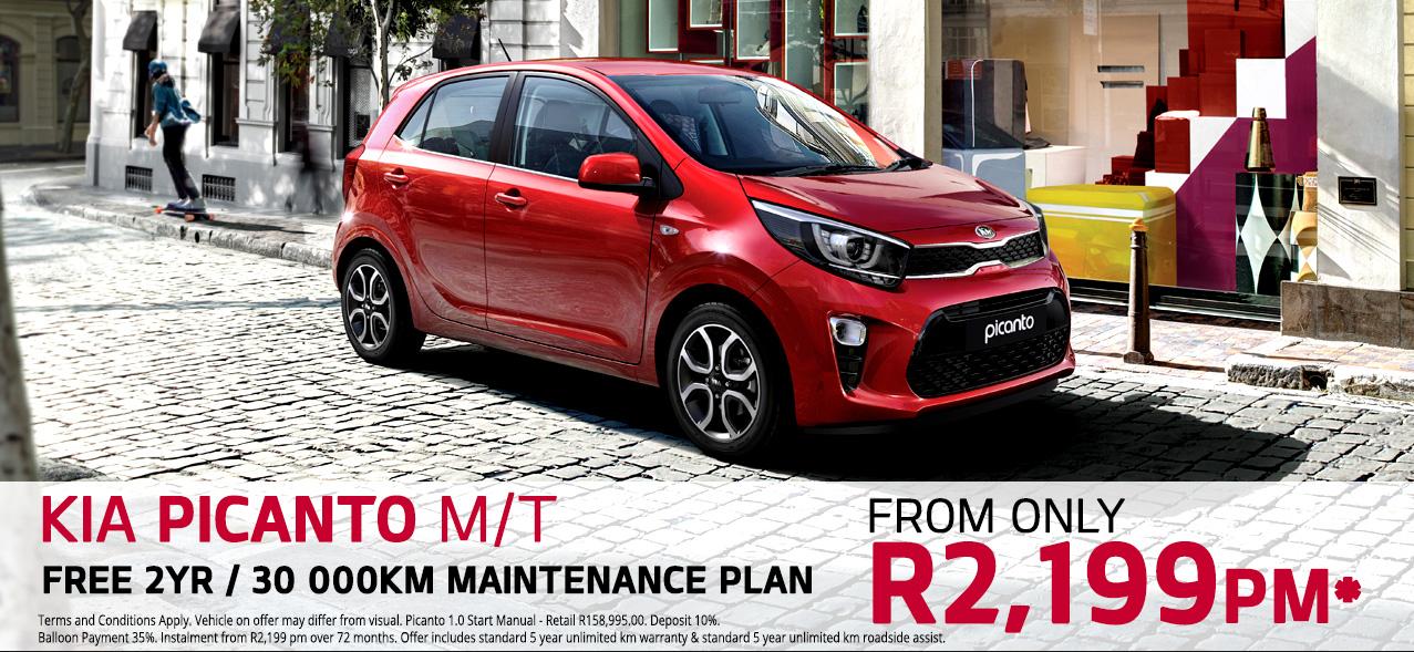 FREE 2YR / 30 000KM Maintenance Plan On the Kia Picanto Start M/T From R2,199 PM*