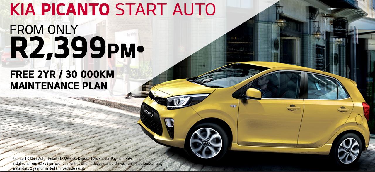 FREE 2YR / 30 000KM Maintenance Plan On the Kia Picanto Start Auto From R2,399 PM*