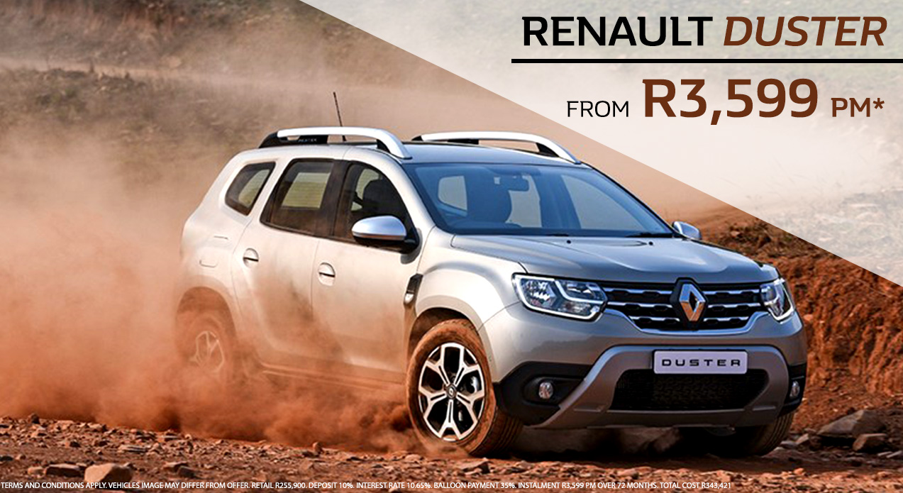 Get the new Renault Duster from R3,599 pm*