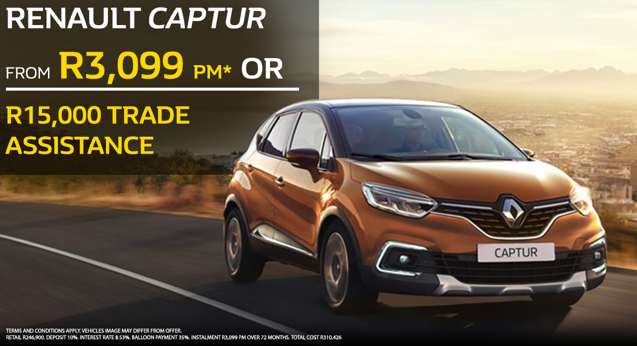 Renault Captur From R3,099 PM* OR R15 000 Trade Assistance