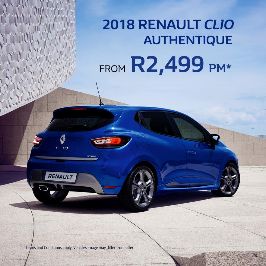 2018 Renault CLIO AUTHENTIQUE From R2,499 PM*