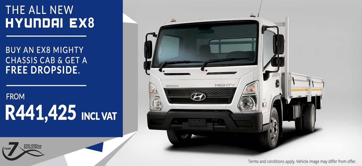 Buy an EX8 MIGHTY CHASSIS CAB & get a FREE Dropside.  From R441,425 incl VAT