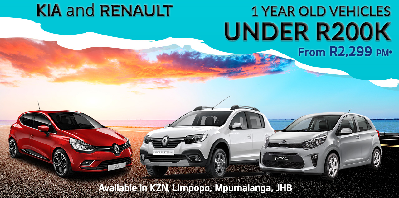 KIA and RENAULT 1 YEAR OLD VEHICLES UNDER R200K  From R2,299 PM*