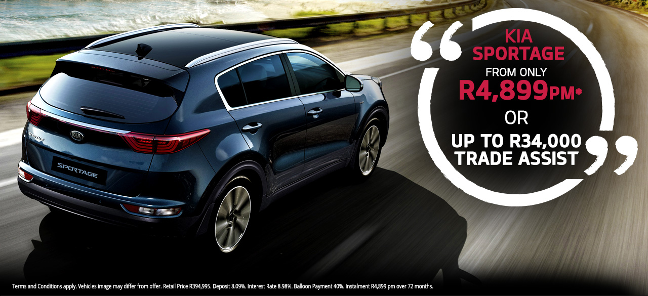 KIA Sportage From R4,899 PM* Or  Up to R34 000 Trade Assist