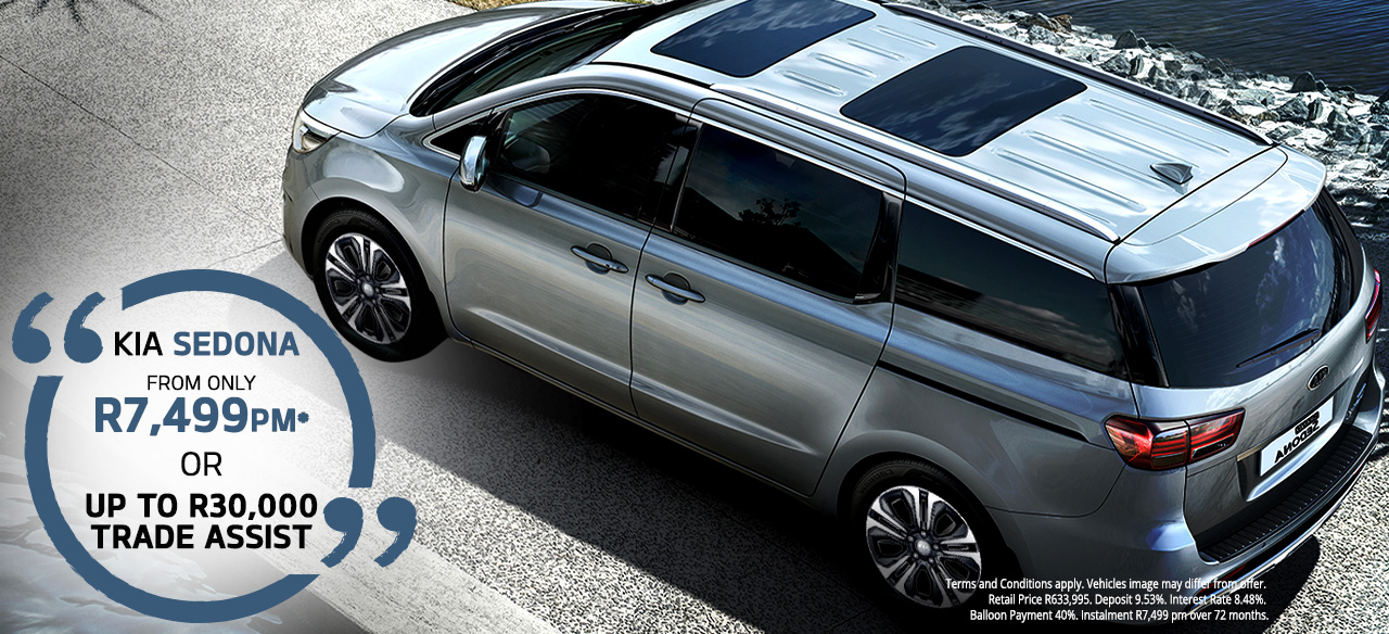 KIA Sedona From R7,499 PM* Or  Up to R30 000 Trade Assist