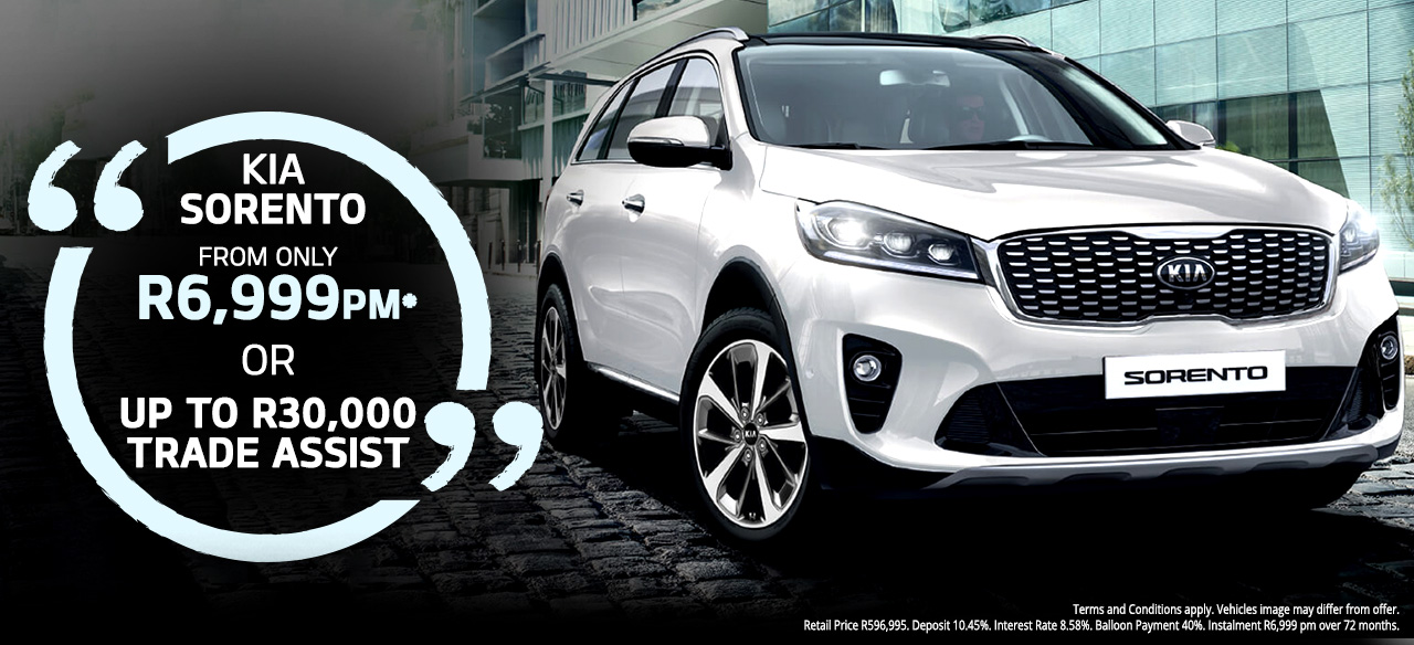 KIA Sorento From R6,999 PM* Or  Up to R30 000 Trade Assist