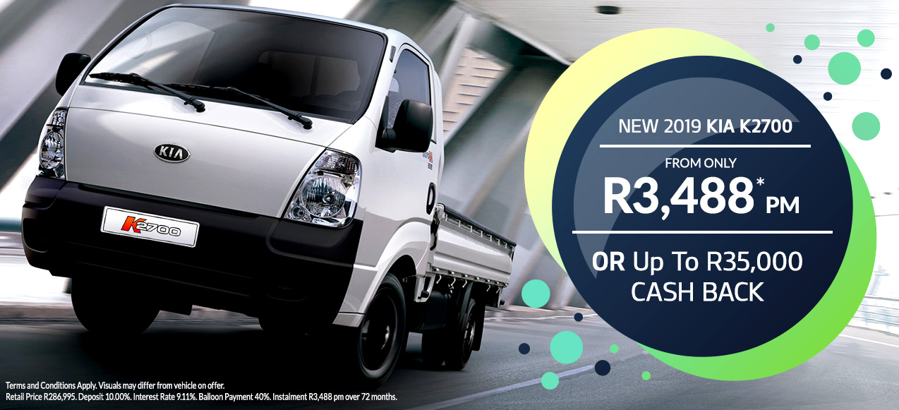 New 2019 Kia K2700 from R3,489 PM*  or up to R35 000 Cash Back