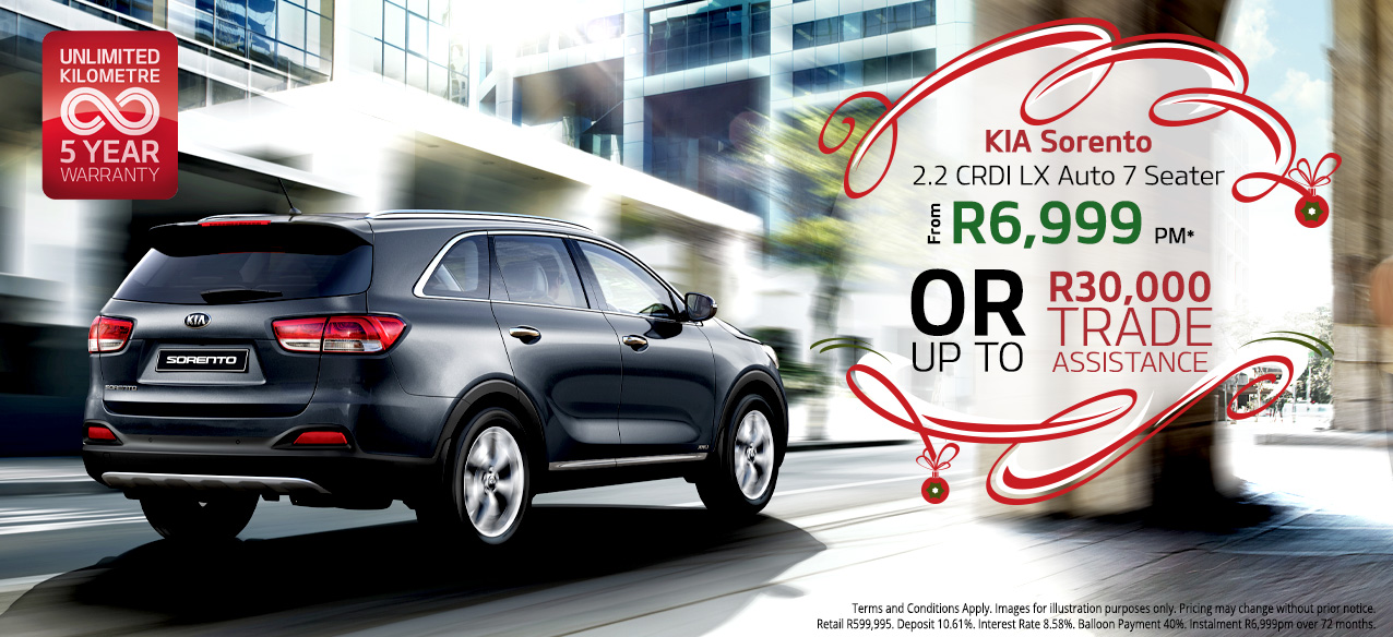 Sorento 2.2 From R6,999 PM*