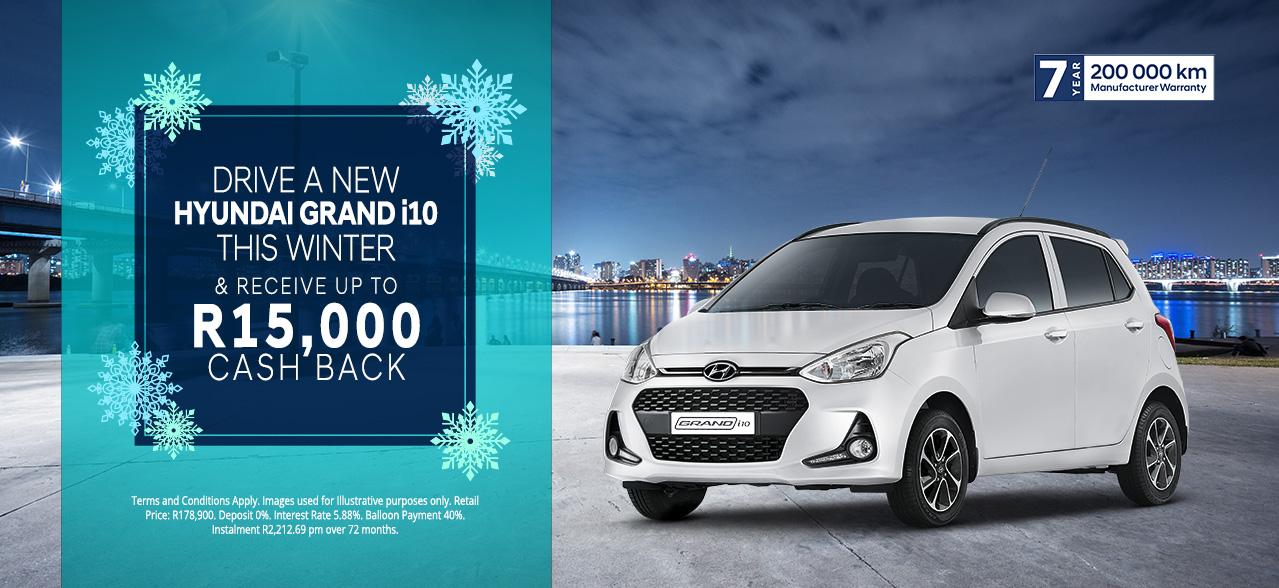The Hyundai Grand i10 R15,000 Cash Back