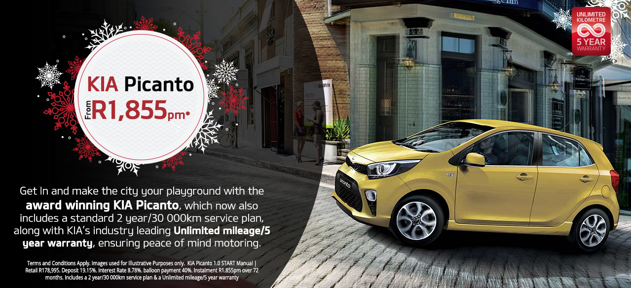 The Kia Picanto Start from R1,855pm*
